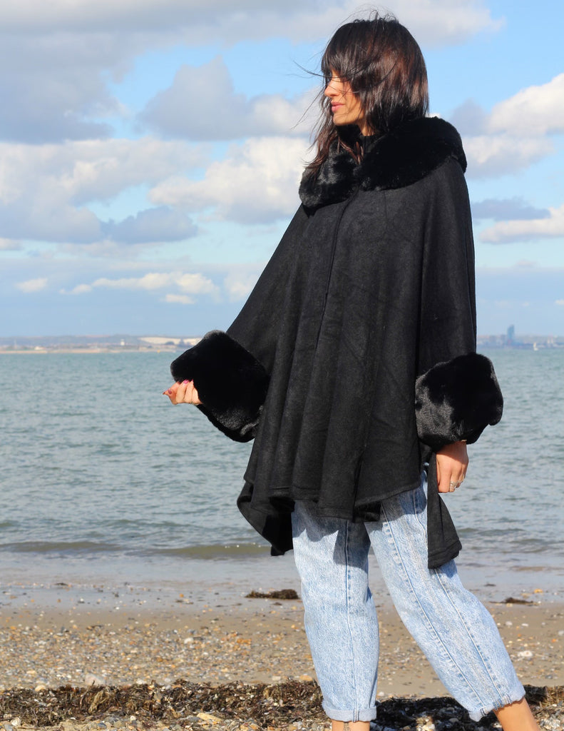 My Type Faux Fur Cuff Cape Jacket