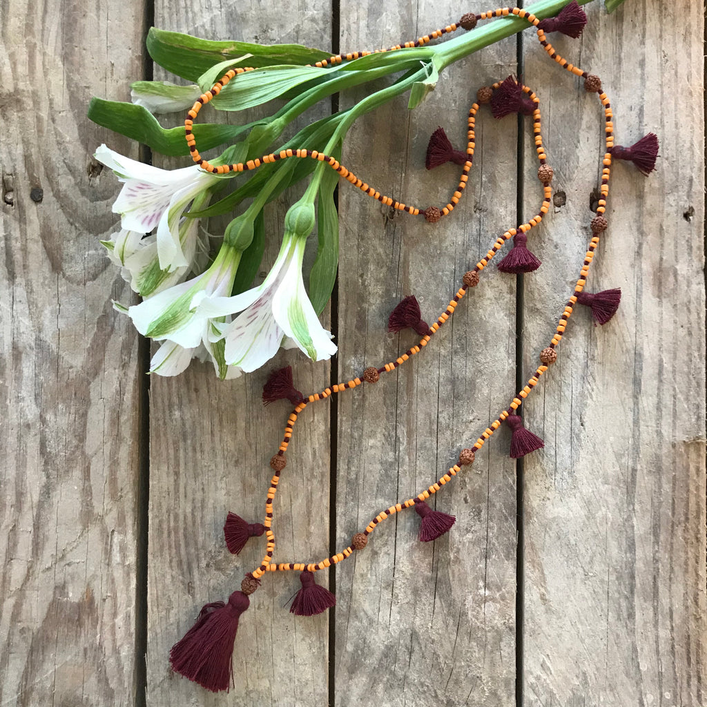 Festival Lover Handmade Tassel Necklace with Seed Beads