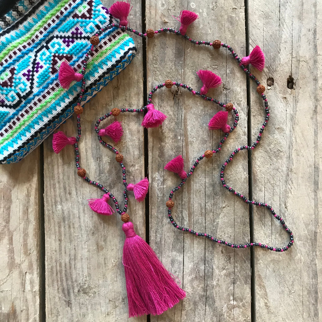 Indigo Dreams Handmade Tassel Necklace with Seed Beads
