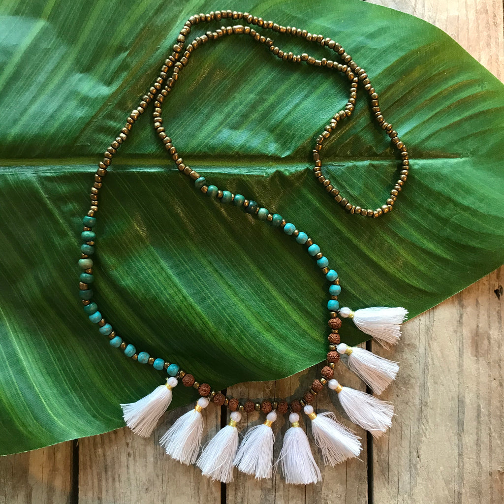 Moon Lover Handmade Tassel Set NecklaceWith Turquoise Bead