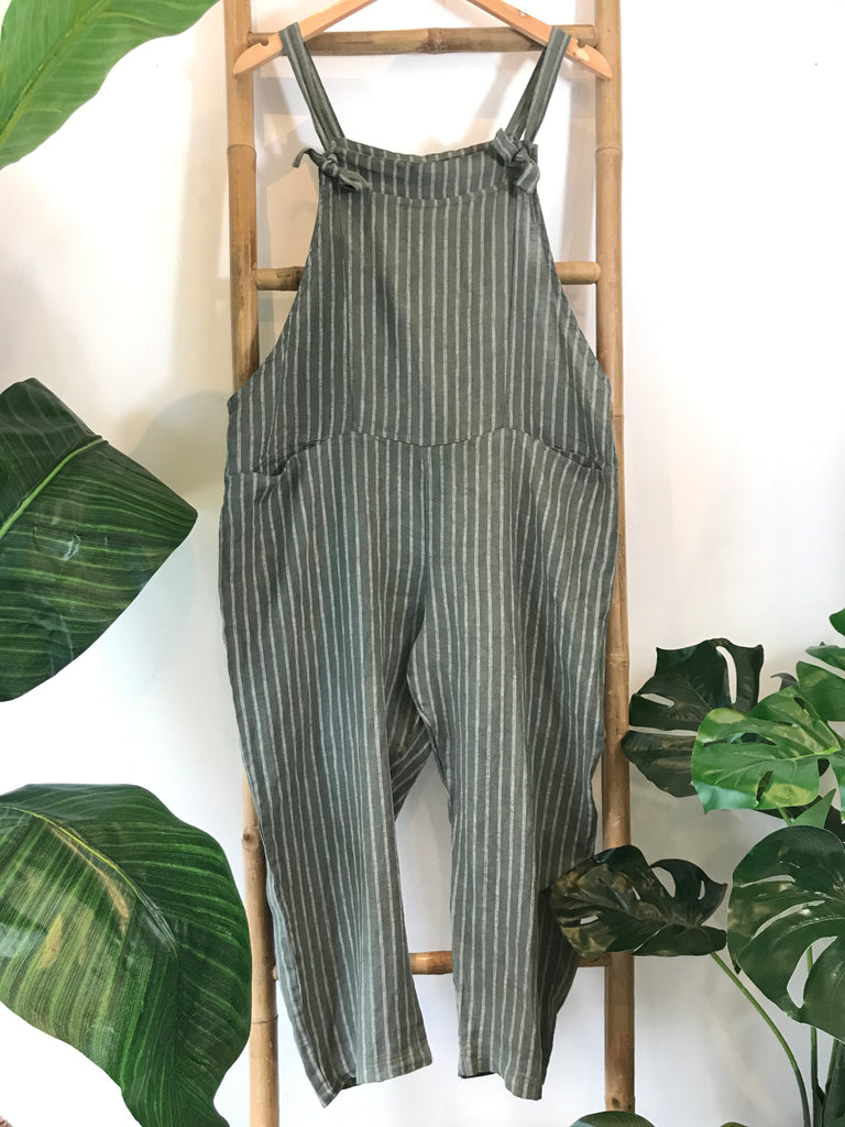 Apple Of My Eye Soft And Slouchy Linen Tie Dungarees