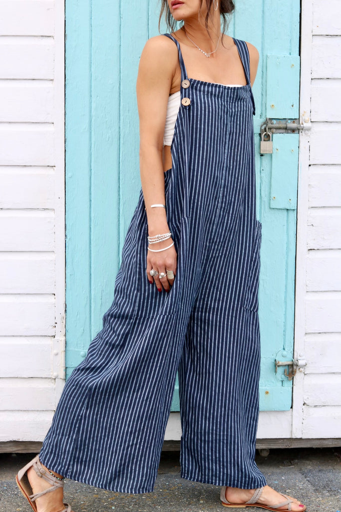 Ocean Days Soft And Slouchy Pure Linen Dungarees