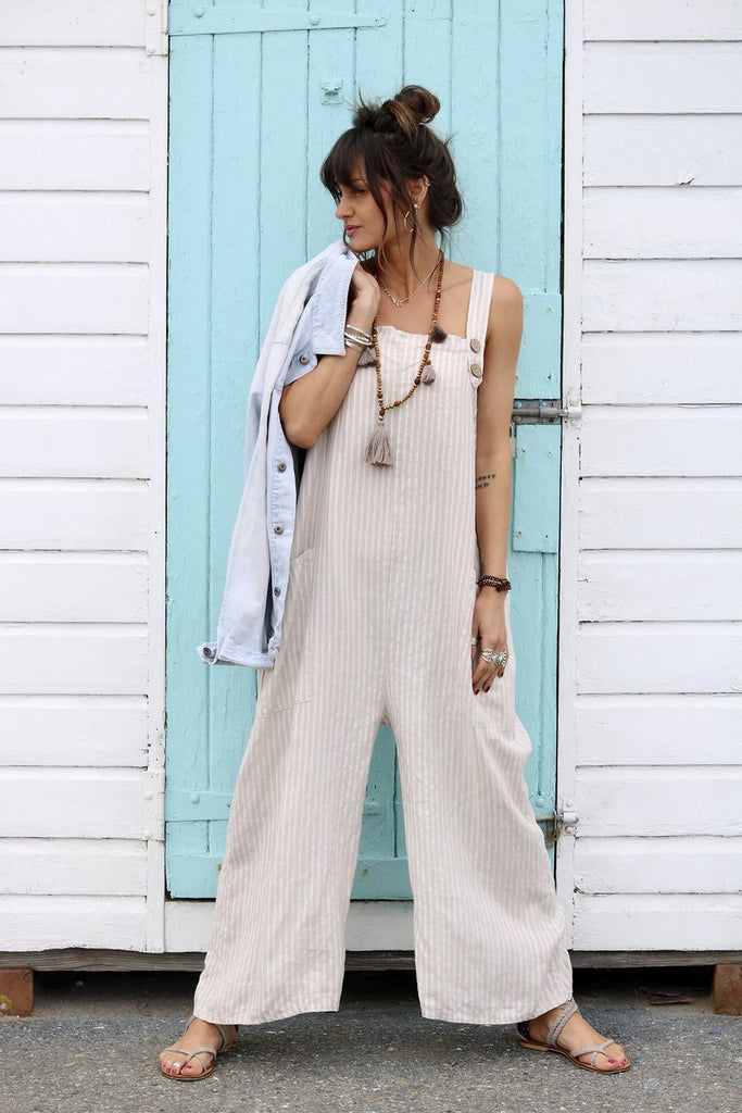 Salt Island Soft And Slouchy Pure Linen Dungarees