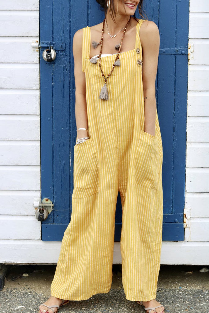 Sundrenched Soft And Slouchy Pure Linen Dungarees