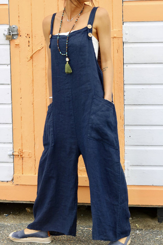Still Obsessed Soft And Slouchy Pure Linen Dungarees