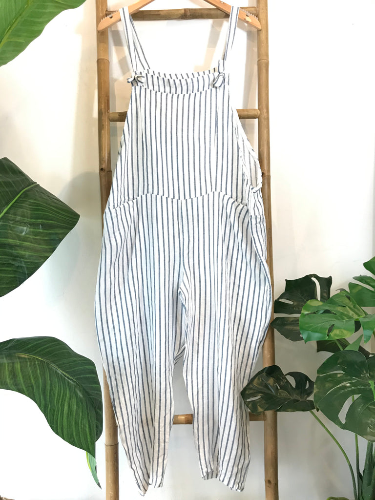 A Summer Fave Soft And Slouchy Linen Tie Dungarees