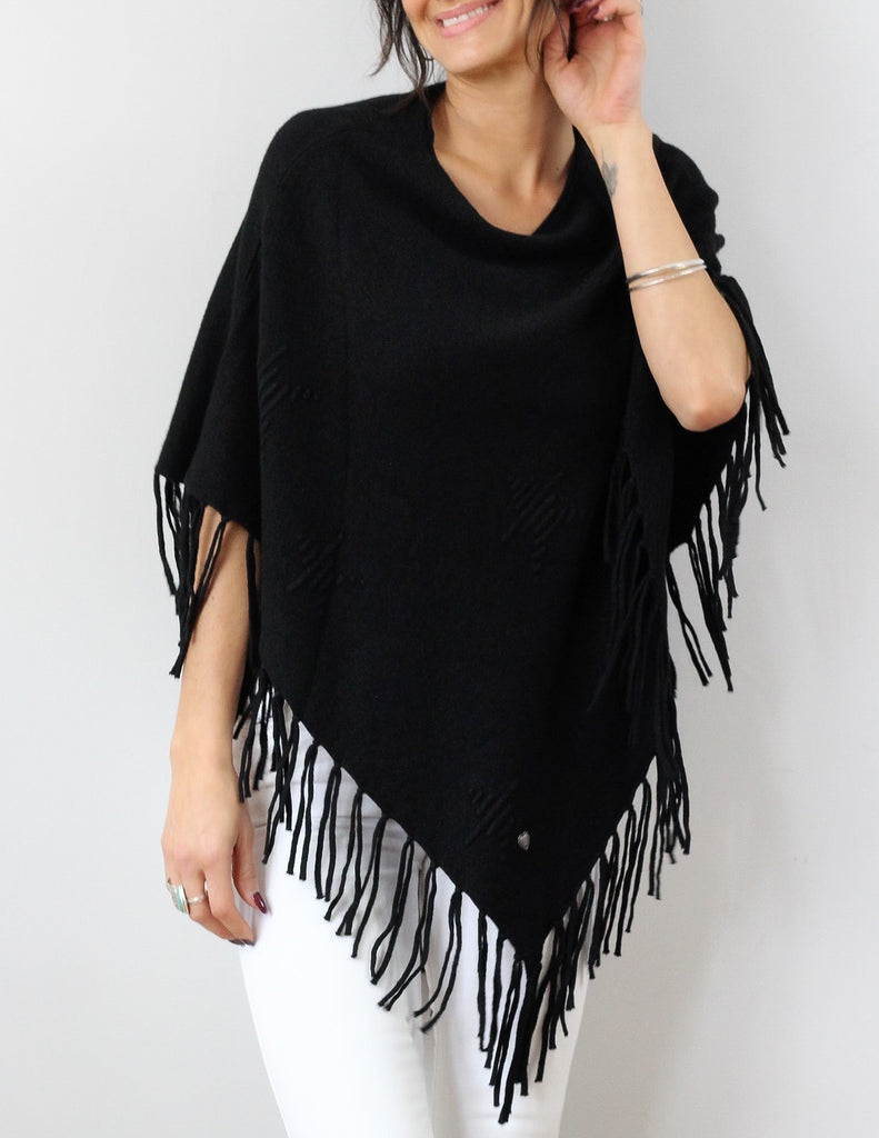 Pinacle Tasseling Poncho In Black