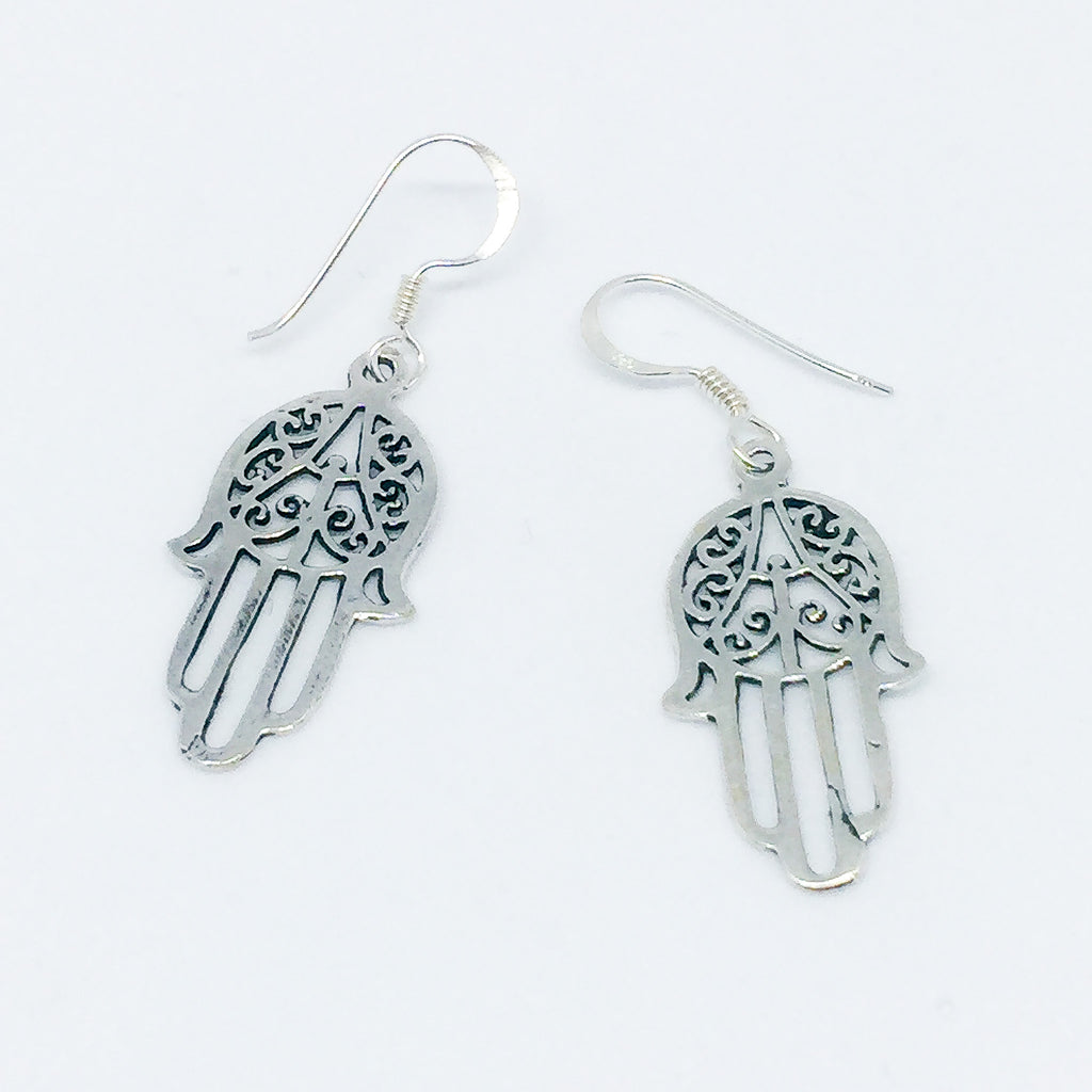 Hand Of Hasma Real Silver Earrings