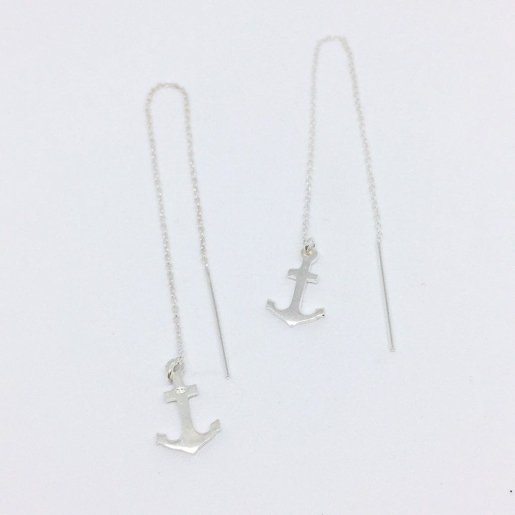 Anchor Up Real Silver Earrings