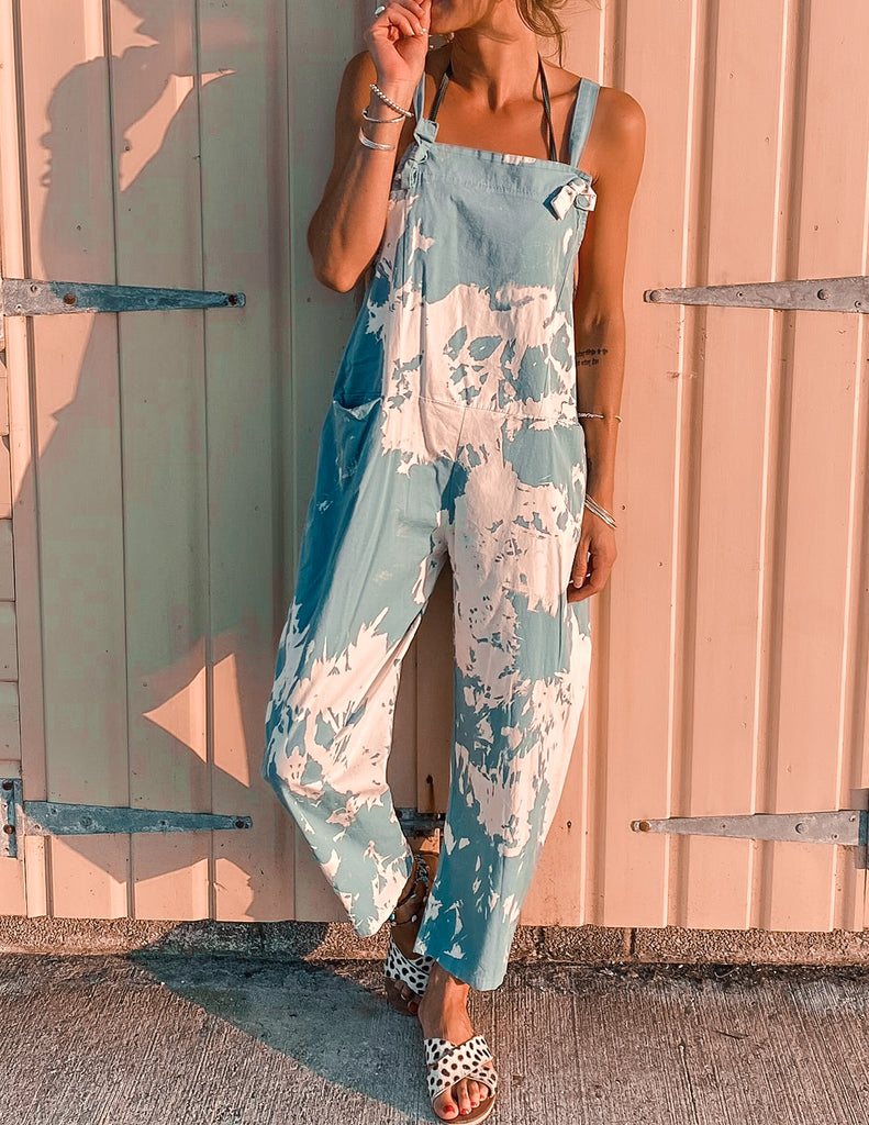 Tease Me Soft And Slouchy Splash Dungarees