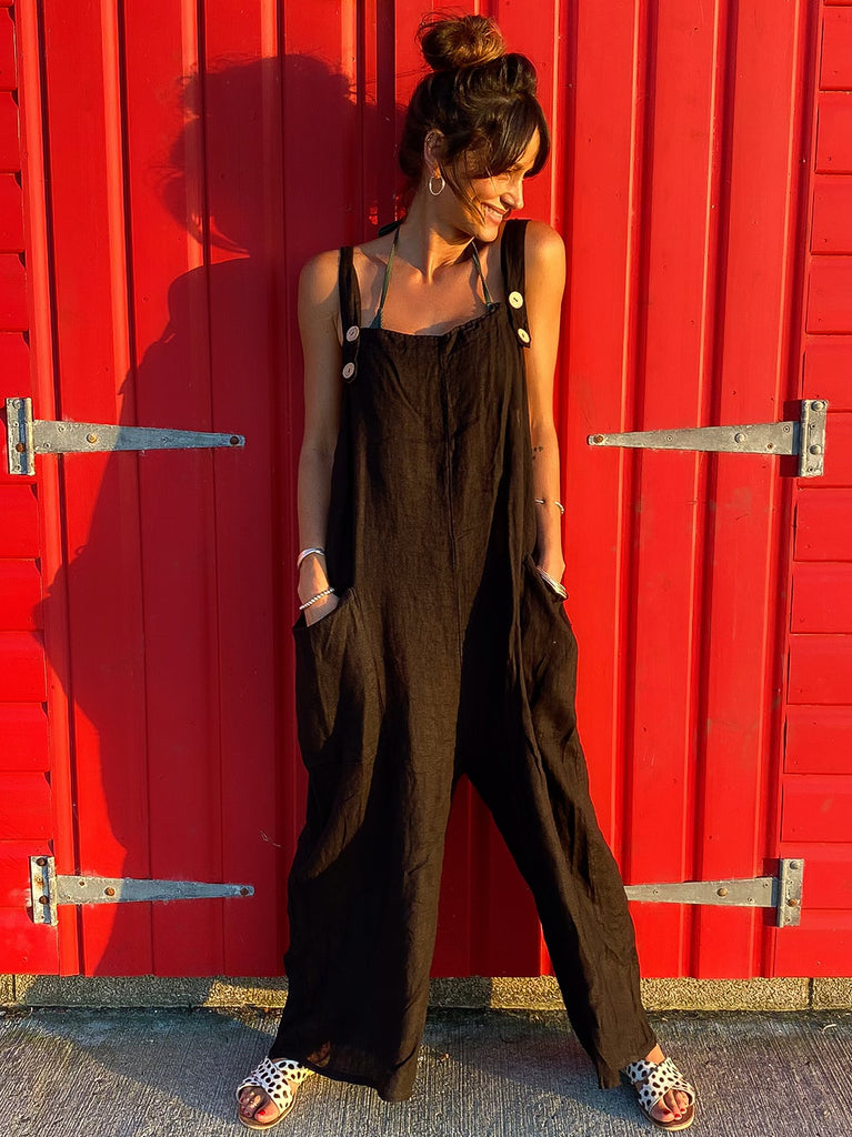 One And Only 100% Pure Linen Dungarees