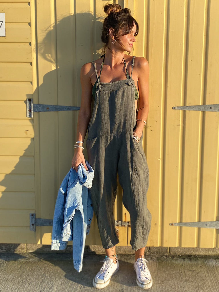 Lost And Found Soft And Slouchy Linen Tie Dungarees