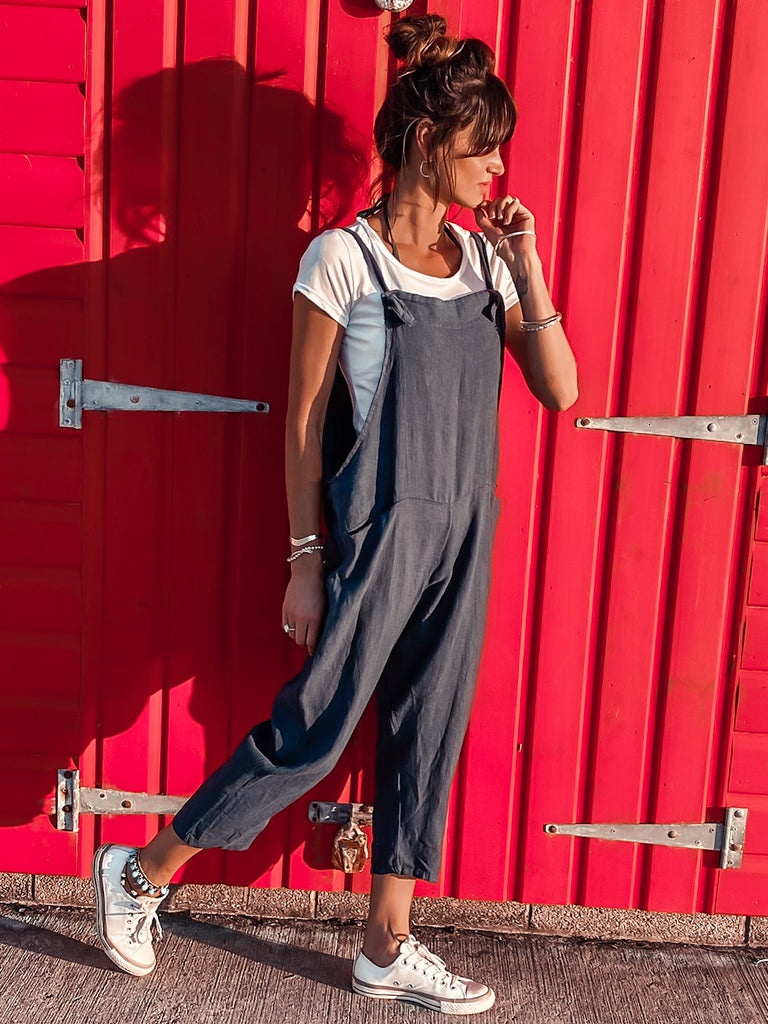 Beach Days Soft And Slouchy Linen Tie Dungarees