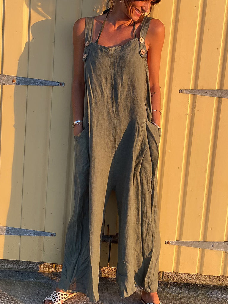 Summer Vibing  100% Pure Linen Dungarees