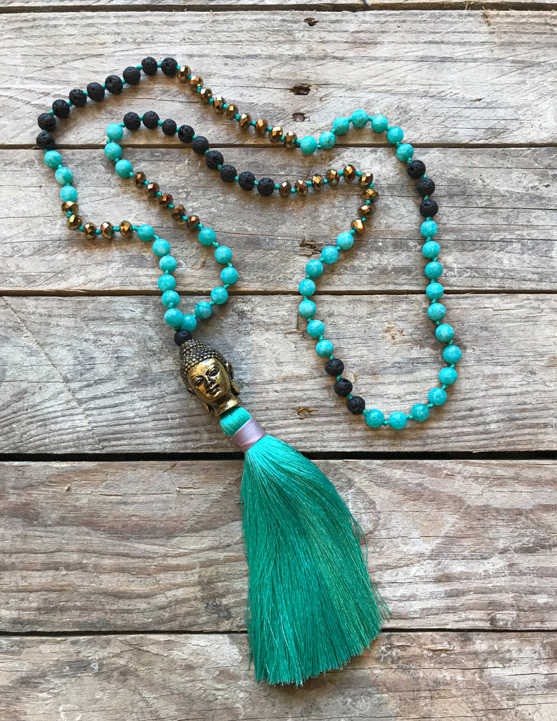 Handmade Agate with Lava Beads and Brass Buddha Mala Style Necklace