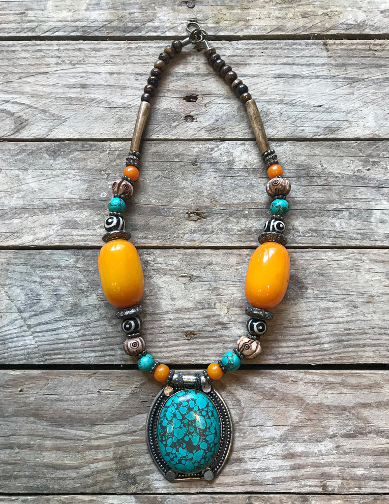 Handmade Tibetan Turquoise and Orange Stone Necklace