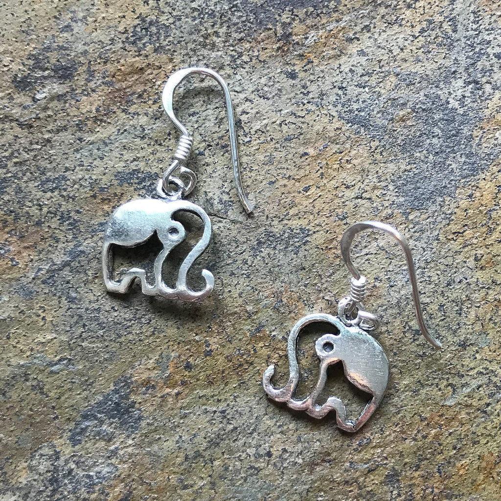 Real Silver Elephant Earrings