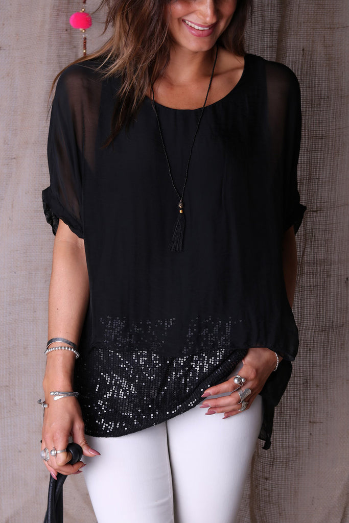 Lets Move On Italian Silk Soft Sequin Top