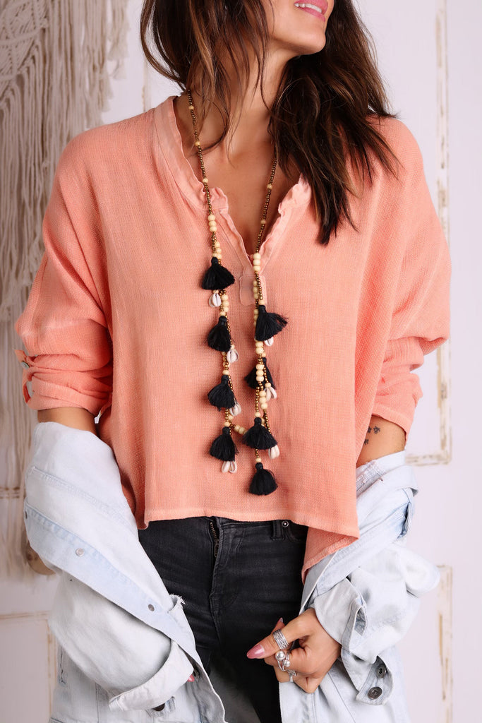 Everythings Peachy Linen Top