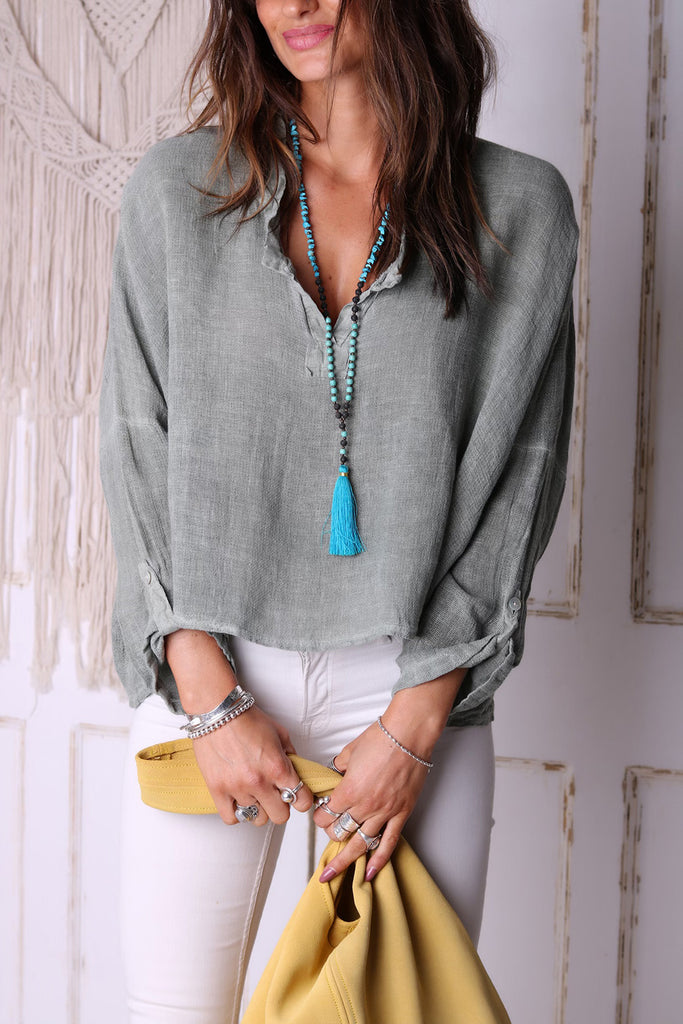 Rolling In The Deep Linen Top