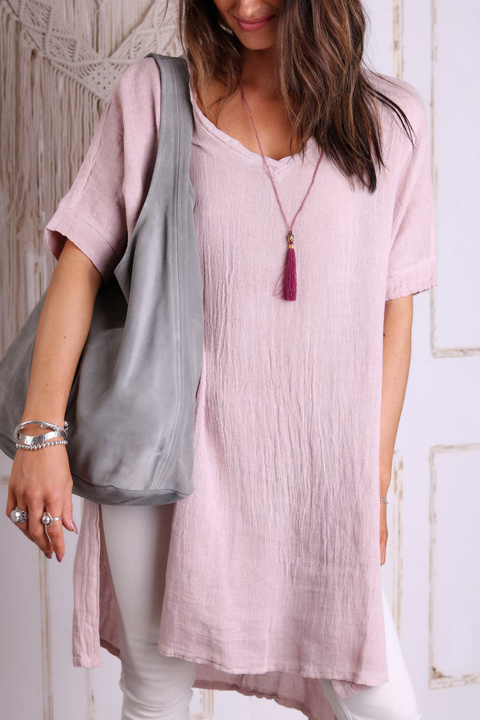 Like A Lady Long Length Linen Top