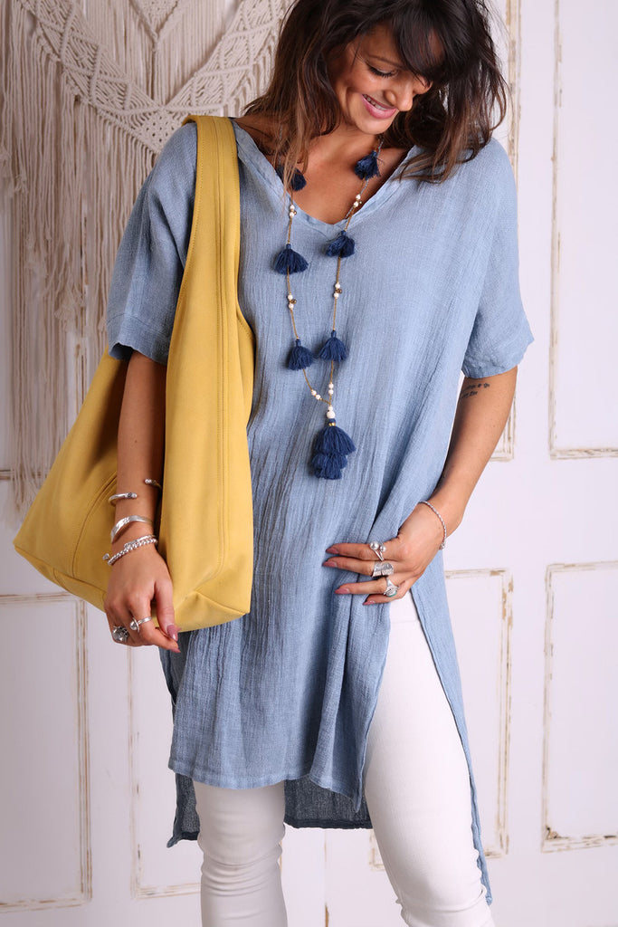 Wave Breaks Longer Length Linen Top