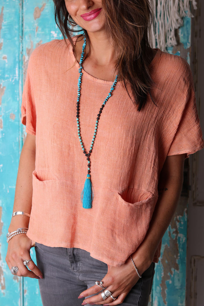 Swimming Above Coral Linen Top