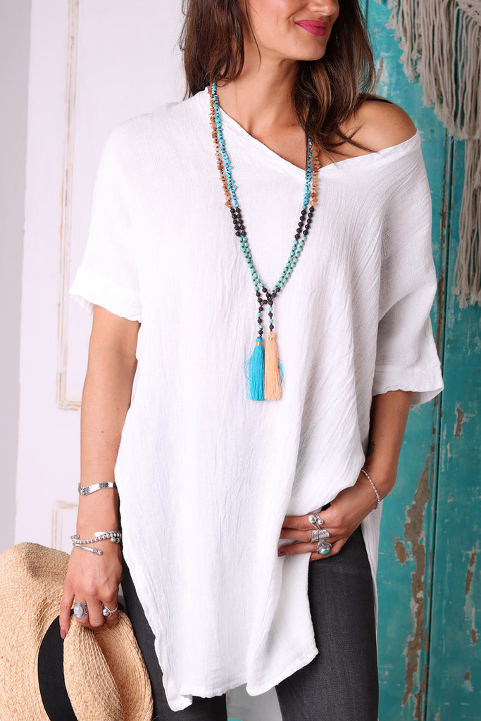 Crystal Clear Long Linen Top
