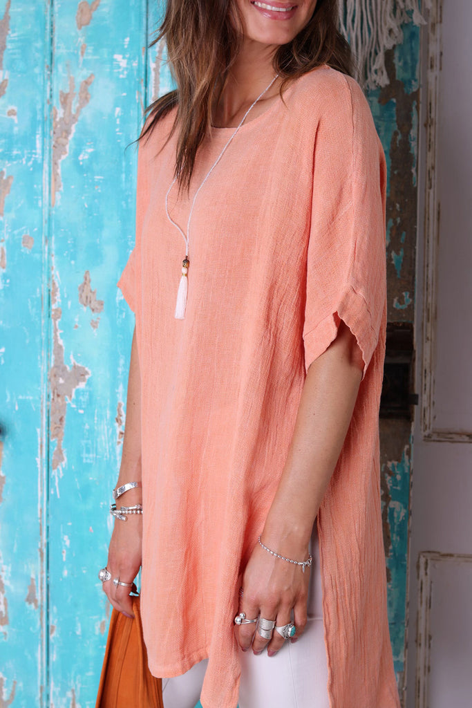 Coral Reef Longer Style Linen Top