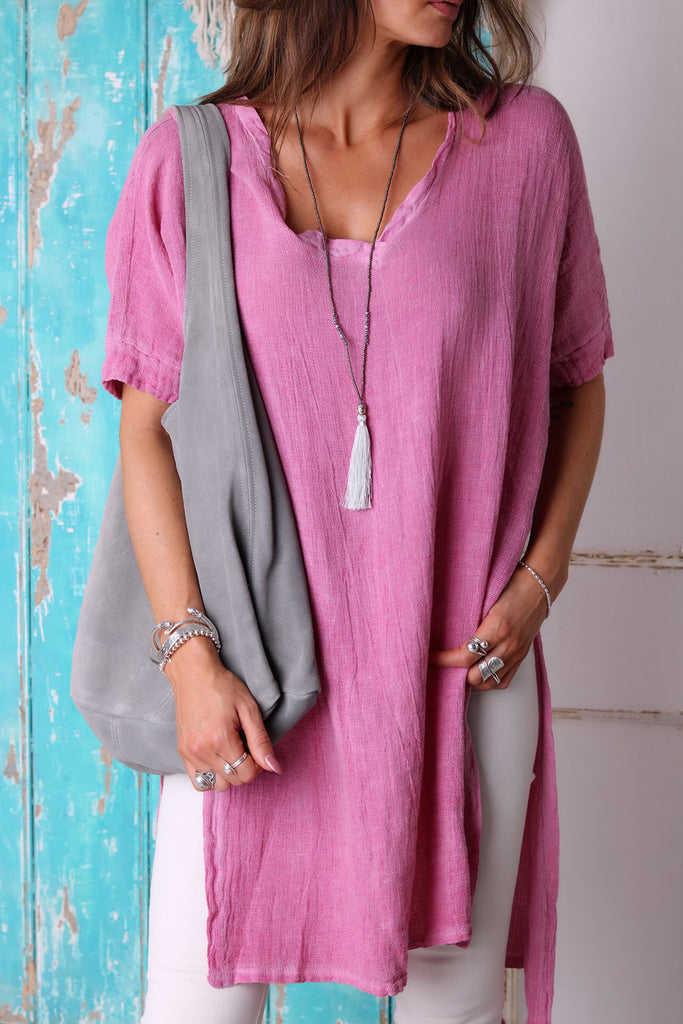 Ditsy Days Long Linen Top
