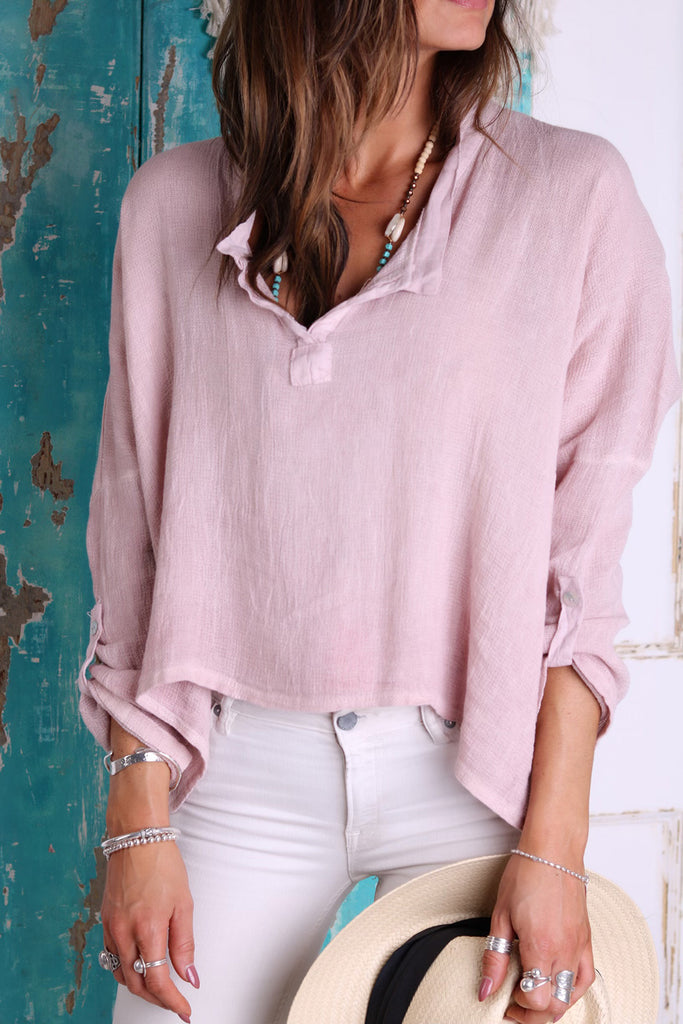 Sweet Candyfloss Linen Top