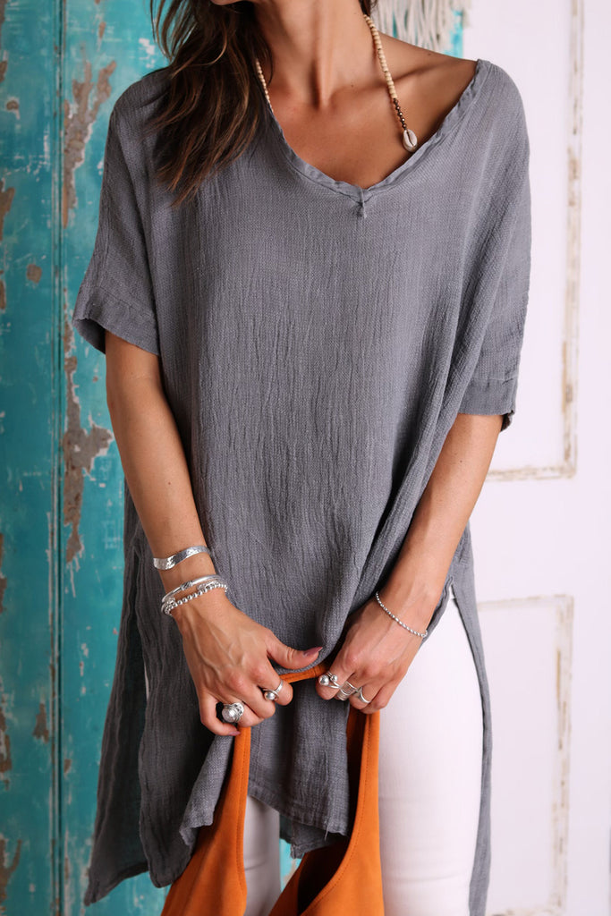 Moondust Long Linen Top