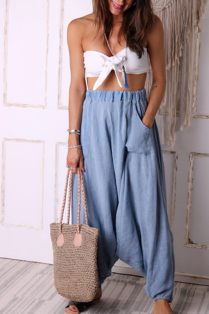 Sunkissed Days Pure Linen Parachute Pants