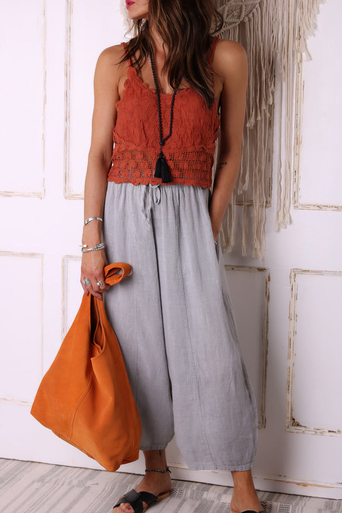Flower Wall 100% Pure Linen Trousers