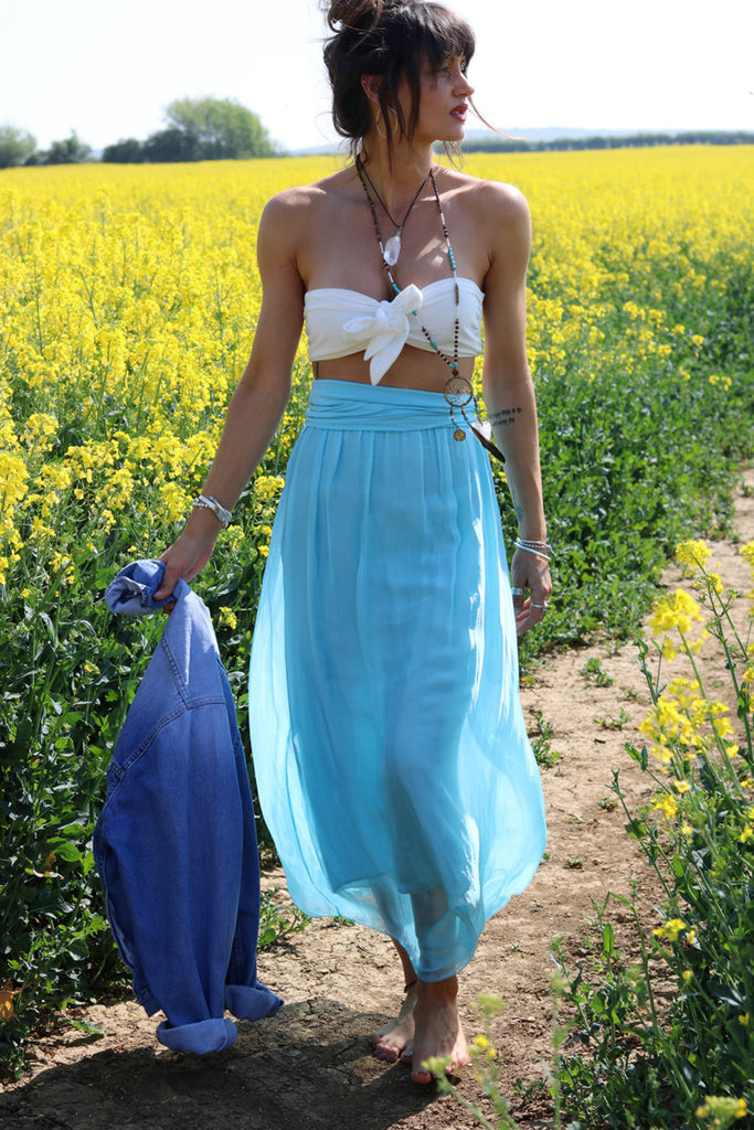 Dream In Colour 100% Pure Silk Maxi Skirt