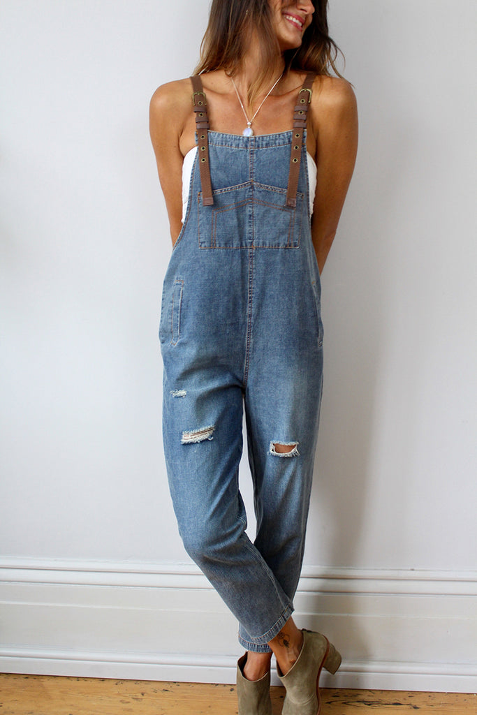 End Of The Island Soft And Slouchy Denim Dungarees