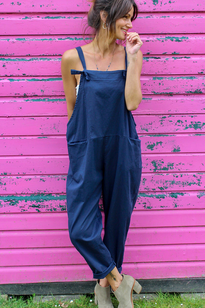 After Hours Soft And Slouchy Cotton Tie Dungarees