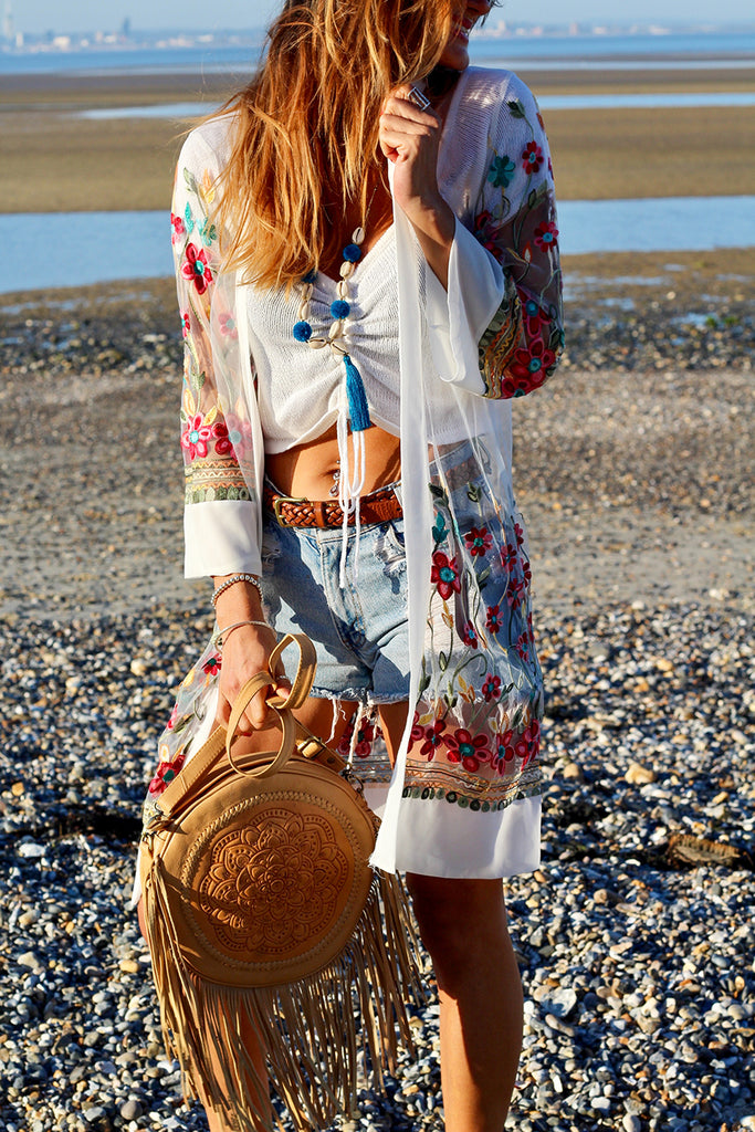 Flowers and Lace Longline Embroidered Kimono