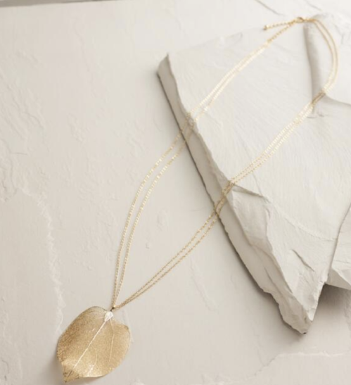 Gold Leaf Pendant Necklace