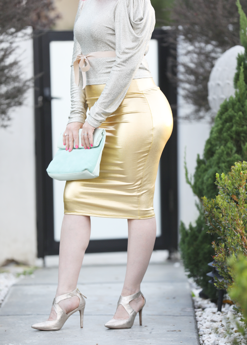GOLD PENCIL SKIRT