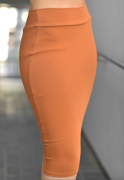 AVERY TAWNY COLOR PENCIL SKIRT