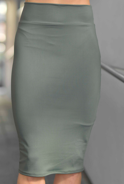 IVYANA  MOSS GREEN PENCIL SKIRT