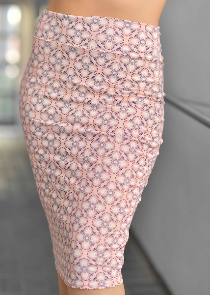ARIANA PINK PRINT PENCIL SKIRT