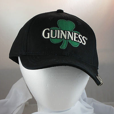 Black Guinness Bill Cap Hat with Built in Bottle Opener