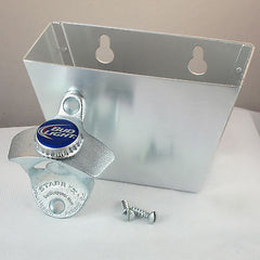 BUDWEISER BUD LIGHT Combo Bottlecap Wall Mount Bottle Opener and Cap Catcher Set