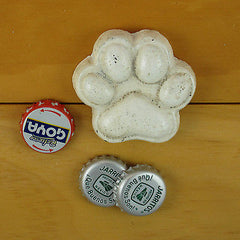 White Dog Paw Cast Iron Figural Bottle Opener/ Paperweight, Old Fashioned Painted Look, Brand NEW!