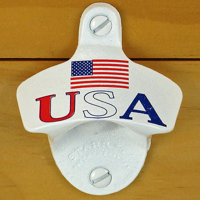 White USA Flag Patriotic Wall Mount Bottle Opener