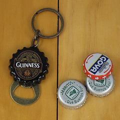 Guinness Flip Out Bottle Opener Keychain, Black Bottle Cap Style