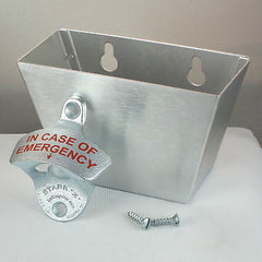 IN CASE OF EMERGENCY Combo Wall Mount Bottle Opener And Aluminum Cap Catcher Set