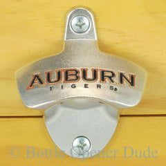 Auburn Tigers Wall Mount Bottle Opener Zinc Alloy NCAA Licensed. BottleOpenerDude